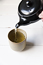 Green tea is being poured into cup with a Kyusu teapot - EVGF000921