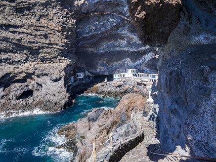 Spain, Canary Islands, La Palma, Tijarafe, Poris de Candelaria at Camino del Prois, Houses in a cave - AMF002888