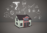 3D rendering, Family home with drawings of home dangers - ALF000220