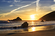 USA, California, Pacific Coast, National Scenic Byway, Big Sur, Pfeiffer Big Sur State Park, Sunset at the beach - FOF007253
