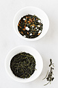 Bowls of Genmaicha and Sencha on white background - EVGF000940