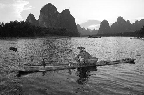 China, Guangxi, Xingping, cormorant fisherman on Li river - DSG000233