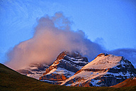 Spain, Ordesa National Park, mountainscape at sunset - DSGF000451