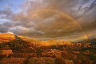 Spain, Ordesa National Park, mountainscape with rainbow - DSGF000496