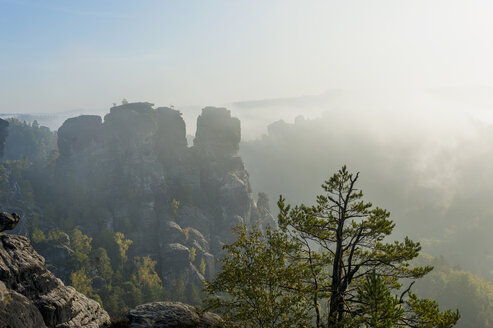 Germany, Saxony, Saxon Switzerland, National Park, Bastei rock formation in the morning light - MJF001368