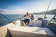 Mexico, Banderas Bay, Puerto Vallarta, panga fishing boat captain - ABA001507