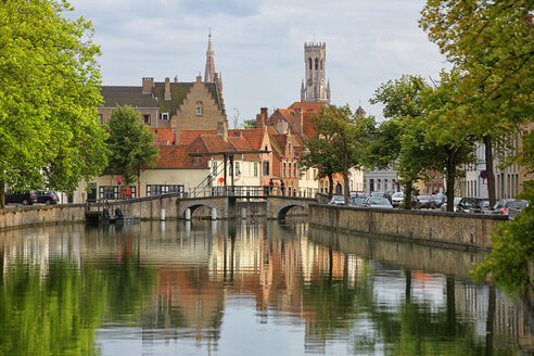 Belgium, Bruges, Churches reflecting in canals - DSGF000565