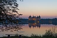Germany, Saxony, Dresden, Moritzburg, View to Moritzburg Castle in the evening light - MJ001375