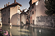 France, Savoy, Annecy, Historic  town centre, Canal and swan - SBDF001319