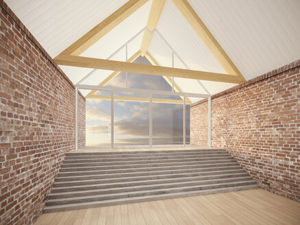 Empty room with roof beams, stair and brick walls, 3D Rendering - UWF000201