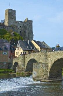 Germany, Hesse, Runkel, Runkel Castle, Lahn Bridge, Lahn river - MHF000338