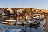 Turkey, Black Sea Region, Sinop Province, Sinop, Fishing harbour and Fortress in the evening light - SIEF006088