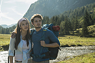 Austria, Tyrol, Tannheimer Tal, portrait of young hiker couple - UUF002207