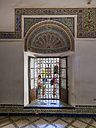 Morocco, Marrakesh-Tensift-El Haouz, Marrakesh, Bahia Palace, window with grille, ornamentation - AM002919