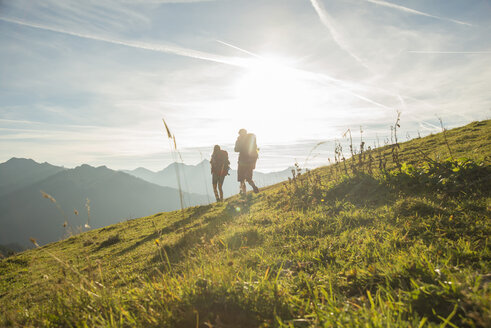Austria, Tyrol, Tannheimer Tal, young couple hiking on alpine meadow - UUF002228