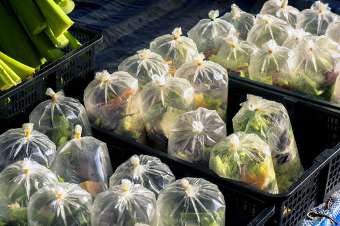 Thailand, Khao Lak, plastic bags with mirepoix at weekly market - WE000253