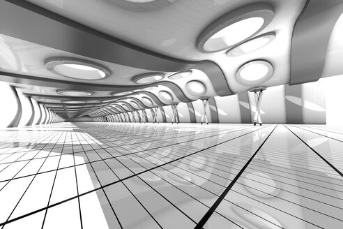 Futuristic empty rooum with skylights, 3D Rendering - SPCF000040