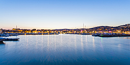 France, Provence-Alpes-Cote d'Azur, Department Var, Bandol, Marina in the evening, Panorama - WDF002663