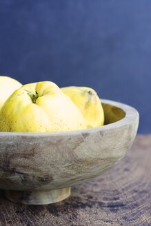 Wooden bowl of quinces, Cydonia oblonga - HAWF000480