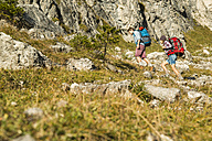 Austria, Tyrol, Tannheimer Tal, young couple hiking - UUF002156