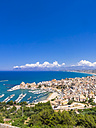 Italy, Sicily, townscape of Castellammare del Golfo with fort and harbor - AMF002987