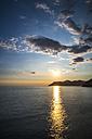 Italy, Liguria, Cinque Terre, Bay of Portofino at sunset - PUF000105