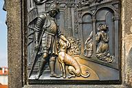 Czechia, Prague, bronze relief at pier of Charles Bridge - WG000500
