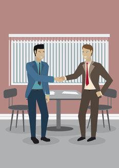 Two businessmen shaking hands, illustration - ALF000242
