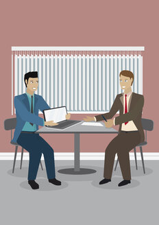 Two businessmen with laptop at table, illustration - ALF000239
