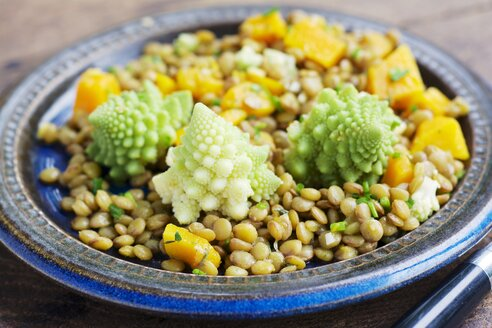 Dish of lentil salad with pumpkin and romanesco - HAWF000487