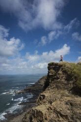 United Kingdom, England, Cornwall, Hiker at High Cliff - PAF001017