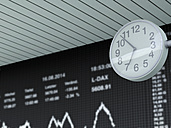 Germany, Stock exchange trading and clock in the foreground - UWF000205