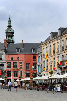 Belgium, Wallonia, Hainaut, Mons, Historic city centre, Houses at the Grand Place square - MIZ000635