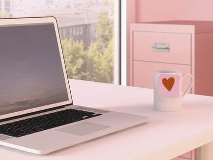 Laptop and mug with adhesive note on desk at home office - UWF000213