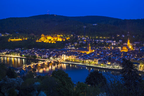 Germany, Baden-Wurttember, Heidelberg at blue hour - PUF000137