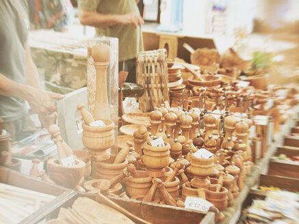 luino, italy, lago maggiore, market, people, wooden goods, - DSC000161