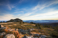 Germany, Bavaria, Bavarian Forest National Park, View from Great Arber to Wagnerkopf in autum and evening light - STSF000548