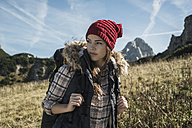 Austria, Tyrol, Tannheimer Tal, young woman on hiking trip - UUF002445