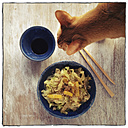Wok dish with cabbage and rice and cat - EVGF000956