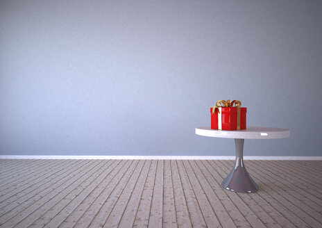 Red gift box on table, 3d Rendering - ALF000244