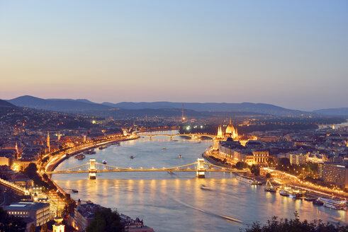 Hungary, Budapest, View to River Danube, Chain Bridge, Margaret Bridge and Parliament Building, Blue hour - BRF000797