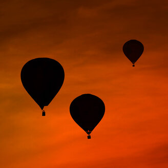 Silhouettes of three air balloons in front of red evening sky - HOHF001093