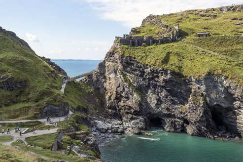 United Kingdom, England, Cornwall, Tintagel, Bridge to Tintagel Castle - FRF000084