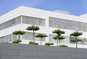 Germany, North Rhine-Westphalia, Neuss, part of facade of white modern office building with trees in front - GUFF000012