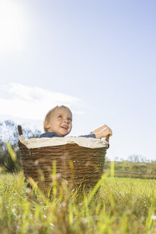 Little boy sitting in a wicker basket on a meadow - OJF000068
