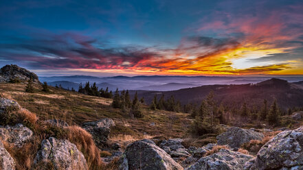 Germany, Bavaria, Bavarian Forest, Great Arber at sunset - STSF000571