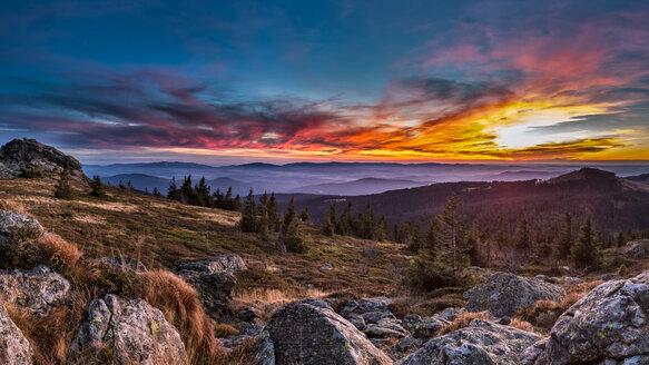Germany, Bavaria, Bavarian Forest, Great Arber at sunset - STSF000571
