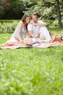 Happy couple having a picnic in park - CvK000195