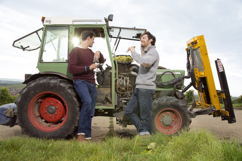 Germany, Bavaria, Volkach, two winegrowers tasting white wine at tractor - FKF000796