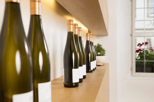 Bottles of white wine on shelf - FKF000815